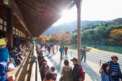Kyoto, Japan - November 17, 2017 :Tourists visit zen garden in a. Utumn season at Tenryuji temple, Kyoto, Japan Stock Images