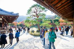 Kyoto, Japan - November 17, 2017 :Tourists visit zen garden in a. Utumn season at Tenryuji temple, Kyoto, Japan Stock Image