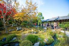 Kyoto, Japan - November 17, 2017 :Tourists visit zen garden in a. Utumn season at Tenryuji temple, Kyoto, Japan Stock Photography