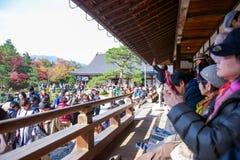 Kyoto, Japan - November 17, 2017 :Tourists visit zen garden in a. Utumn season at Tenryuji temple, Kyoto, Japan Royalty Free Stock Photography