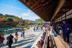 Kyoto, Japan - November 17, 2017 :Tourists visit zen garden in a. Utumn season at Tenryuji temple, Kyoto, Japan Royalty Free Stock Images