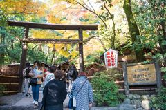 Kyoto, Japan - November 16, 2017 :Tourists visiting the Nonomiya. Shrine in the Arashiyama district of Kyoto, Japan Royalty Free Stock Photos