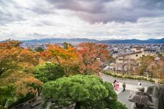 View of Kyoto in autumn from above at Kiyomizu garden in Kyoto, Japan. Kyoto, Japan -November 2, 2018: View of Kyoto in autumn from above at the popular Kiyomizu royalty free stock images