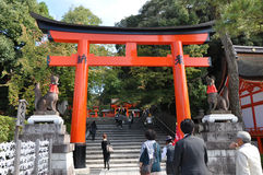 KYOTO, JAPAN - OCT 23 2012: A tourist at Fushimi Inari Shrine Royalty Free Stock Image