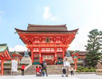 Free KYOTO, JAPAN - OCT 30 : Tourists At Fushimi Inari Shrine On October 30 2013. The Shrine Is Famous For Its Torii Gates Walkway Stock Photography - 35370462