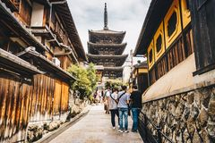 Kyoto, Japan, October 2017: Kyoto city streets in Higashiyama D stock photo