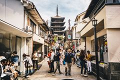 Kyoto, Japan, October 2017: People walking on the streets of Kyoto, Higashiyama District, Japan. Yasaka Pagoda and Sannen Zaka St royalty free stock photo