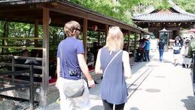 Tourists at the Fushimi Inari-taisha in Kyoto,. Kyoto, Japan: October 17, 2018: Tourists at the Fushimi Inari-taisha in Kyoto, Japan. Fushimi Inari Shrine is a stock footage