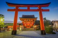 Kyoto Japan på den Fushimi Inari relikskrin Arkivbild