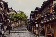 Kyoto Japan p? ett tyst, v?rdag royaltyfria foton