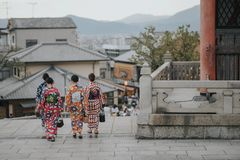 KYOTO, JAPAN, SEPTEMBER 14, 2017: group of young asian women wearing a traditional kimono dress royalty free stock photo