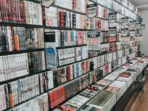 KYOTO, JAPAN, SEPTEMBER 14, 2017:View of manga Japanese graphic comic books in a Japanese bookstore stock images