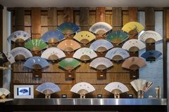 Kyoto, Japan -  Shop window with hand fans Stock Image