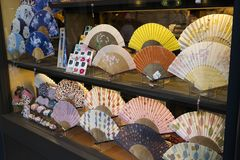 Kyoto, Japan -  Shop window with hand fans Stock Images