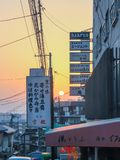 Signboards along the streets of Kyoto in the evening stock image