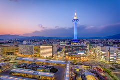 Kyoto, Japan Skyline. Kyoto, Japan downtown skyline and tower Royalty Free Stock Images