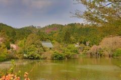 Kyoto, Japan springtime at Ryoanji Temple& x27;s pond. A Kyoto, Japan springtime at Ryoanji Temple& x27;s pond Stock Image