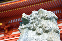 Kyoto, Japan -  Statue of lion-dog at the main gate as the guardian of Beautiful Architecture Kiyomizu-dera Temple Royalty Free Stock Photos