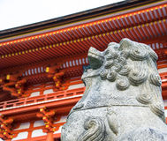 Kyoto, Japan -  Statue of lion-dog at the main gate as the guardian of Beautiful Architecture Kiyomizu-dera Temple Royalty Free Stock Photo