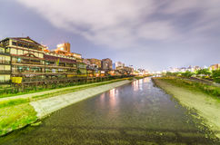 Kyoto, Japan. Sunset view of cityscape along river Stock Photography
