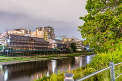 Kyoto, Japan. Sunset view of cityscape along river Stock Photo