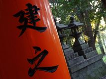 Detail of the writings on the red Torii gates at the Fushimi Inari Shrine in Kyoto royalty free stock photo