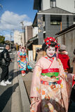 2012 in Kyoto, Japan, Unidentified beautiful women in traditiona Stock Photos