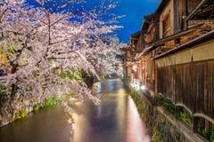 Kyoto, Japon à la rivière de Shirakawa dans Gion District à Kyoto pendant la saison de blosson de cerise de ressort photo libre de droits