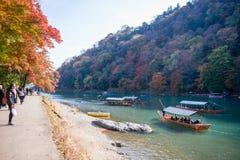 Kyoto, Japon - 17 novembre 2017 : Bateau en bois pour amener des touristes Images stock