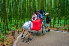 KYOTO JAPONIA, LIPIEC, - 05, 2017: Niezidentyfikowani ludzie nad czerwonym riksza w ścieżce przy pięknym bambusowym lasem przy Ar Obraz Royalty Free