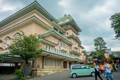KYOTO JAPONIA, LIPIEC, - 05, 2017: Widok tradycyjny Japoński gejsza budynek szkoły w Higashi Chaya gejszy starym okręgu, Obrazy Royalty Free