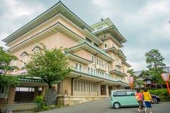 KYOTO JAPONIA, LIPIEC, - 05, 2017: Widok tradycyjny Japoński gejsza budynek szkoły w Higashi Chaya gejszy starym okręgu, Obrazy Stock