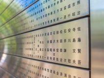 KYOTO JAPONIA, LIPIEC, - 05, 2017: Zakończenie up kruszcowa struktura z japanesse słowami pisać, w zamazanym tle Zdjęcia Stock