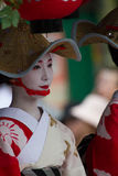 KYOTO - JULY 24: Unidentified Maiko girl (or Geiko lady) on parade of hanagasa in Gion Matsuri (Festival) held on July 24 2014 inK. KYOTO - JULY 24: Unidentified Stock Photos