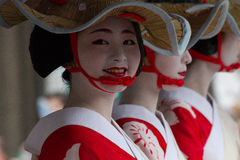 KYOTO - JULY 24: Unidentified Maiko girl (or Geiko lady) on parade of hanagasa in Gion Matsuri (Festival) held on July 24 2014 in. Kyoto, Japan. It is one of Stock Images