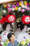 KYOTO - JULY 24: Unidentified Maiko girl (or Geiko lady) on parade of hanagasa in Gion Matsuri (Festival) held on July 24 2014 in Stock Image
