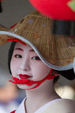 KYOTO - JULY 24: Unidentified Maiko girl (or Geiko lady) on parade of hanagasa in Gion Matsuri (Festival) held on July 24 2014 in Royalty Free Stock Images