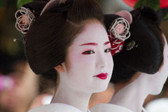 KYOTO - JULY 24: Unidentified Maiko girl (or Geiko lady) on parade of hanagasa in Gion Matsuri (Festival) held on July 24 2014 in Stock Photos