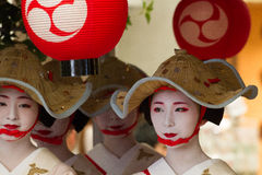 KYOTO - JULY 24: Unidentified Maiko girl (or Geiko lady) on parade of hanagasa in Gion Matsuri (Festival) held on July 24 2014 in. Kyoto, Japan. It is one of Royalty Free Stock Photography