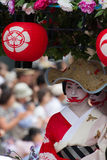 KYOTO - JULY 24: Unidentified Maiko girl (or Geiko lady) on parade of hanagasa in Gion Matsuri (Festival) held on July 24 2014 in Stock Photography
