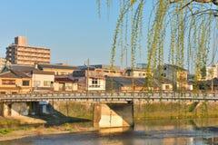 Kyoto Kamo river Kamogawa river side view, Kyoto, Japan. Sunday morning Stock Photography