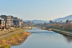 Kyoto Kamo river Kamogawa river side view, Kyoto, Japan. Sunday morning Stock Photos