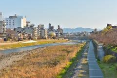 Kyoto Kamo river Kamogawa river side view, Kyoto, Japan. Sunday morning Stock Image
