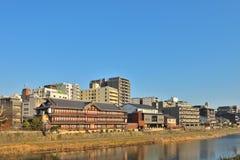 Kyoto Kamo river Kamogawa river side view, Kyoto, Japan. Sunday morning Stock Photo