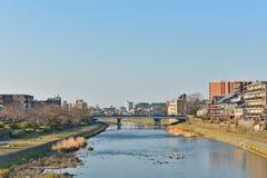 Kyoto Kamo river Kamogawa river side view, Kyoto, Japan. Sunday morning Royalty Free Stock Image