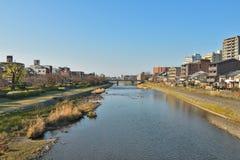 Kyoto Kamo river Kamogawa river side view, Kyoto, Japan. Sunday morning Royalty Free Stock Photos