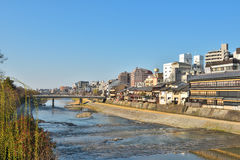 Kyoto Kamo river Kamogawa river side view, Kyoto, Japan. Sunday morning Royalty Free Stock Images