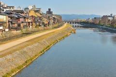 Kyoto Kamo river Kamogawa river side view, Kyoto, Japan. Sunday morning Royalty Free Stock Photography