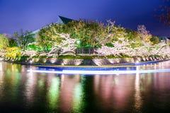 Kyoto kanal på natten på våren Arkivbild