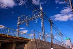 Kyoto kolej z elektrycznym kablem Zdjęcie Stock